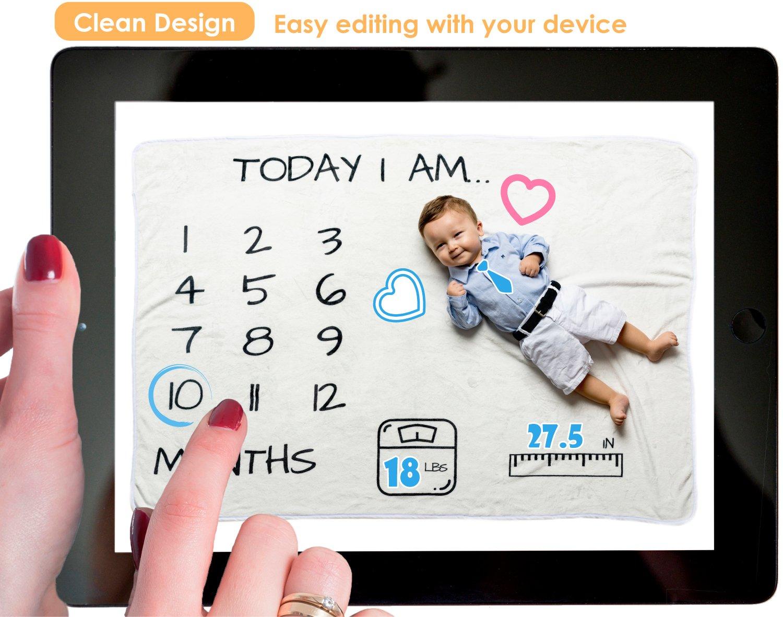 Amazon.com: Baby Monthly Milestone Blanket | Premium Quality Soft ...