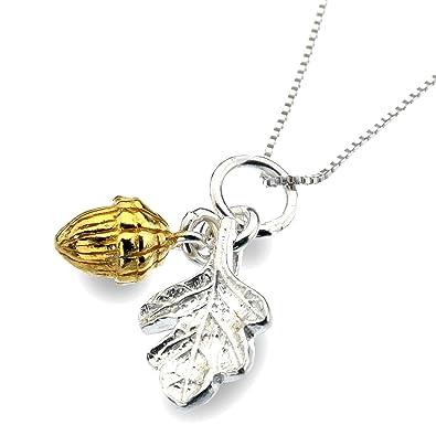016bfd4bd0d5 Broche de plata de ley 925 chapado en oro de hojas de roble collar con  colgante de bellota  Amazon.es  Joyería