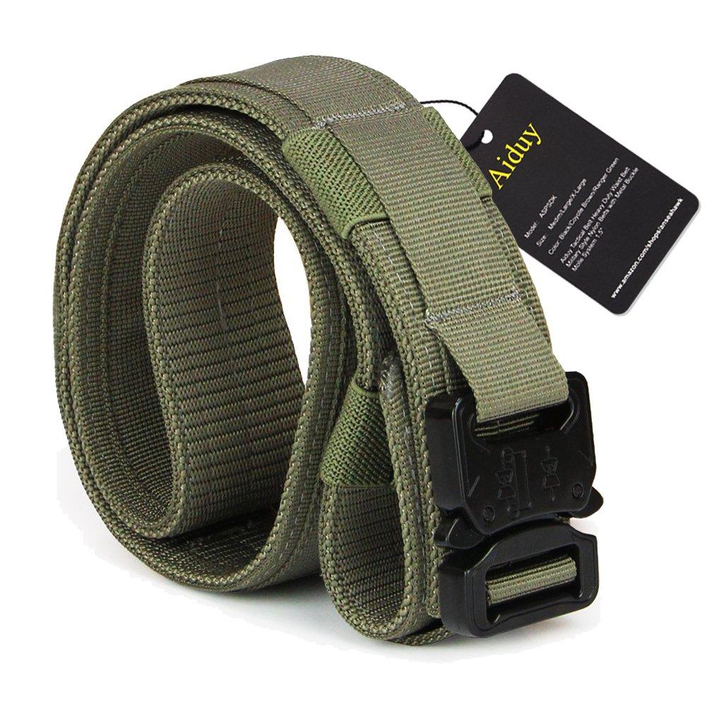 Aiduy 1.5'' Outdoor 1000D Nylon Webbing Mlitary Style Men's Tactical Heavy Duty Belt with Metal Buckle (Ranger Green, Medium)