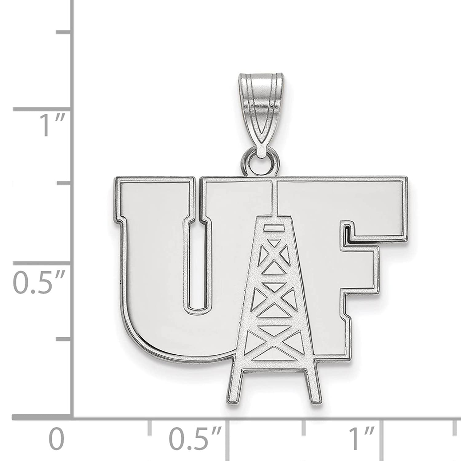 925 Sterling Silver Rhodium-plated Laser-cut University of Findlay Large Pendant