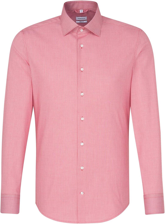 Seidensticker - Camisa de negocios, para hombre, de manga larga, cuello de kente, no necesita planchado rojo 47: Amazon.es: Ropa y accesorios