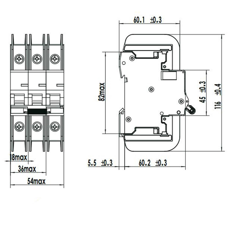 ASI NDB2T-63C25-1L DIN Rail Mount Circuit Breaker 1 Pole 25 amp General Purpose Trip Curve C Nader 240V UL489 Branch Circuit Protection