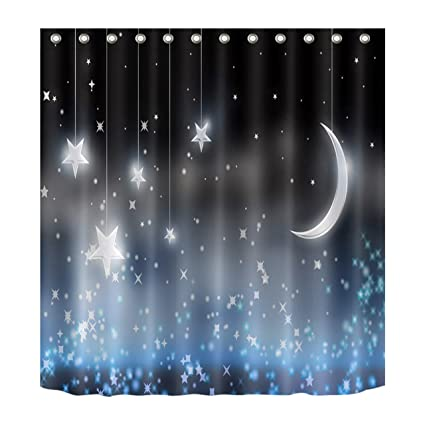 Sparkle Moon And Stars Shower Curtain By LBNight Scenery Theme Polyester Fabric Waterproof Mildew
