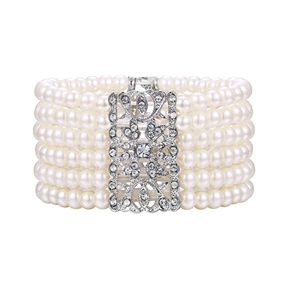 Vintage Style Jewelry, Retro Jewelry BriLove Womens Vintage Inspired Crystal Cream Simulated Pearl Hollow Stretch Bracelet Clear Silver-Tone $18.99 AT vintagedancer.com