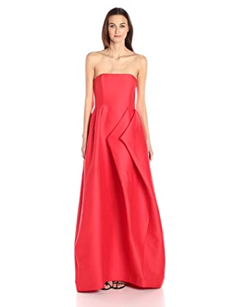 0844f9542660 Halston Heritage Women s Strapless Silk Faille Gown with Folded Drape Skirt
