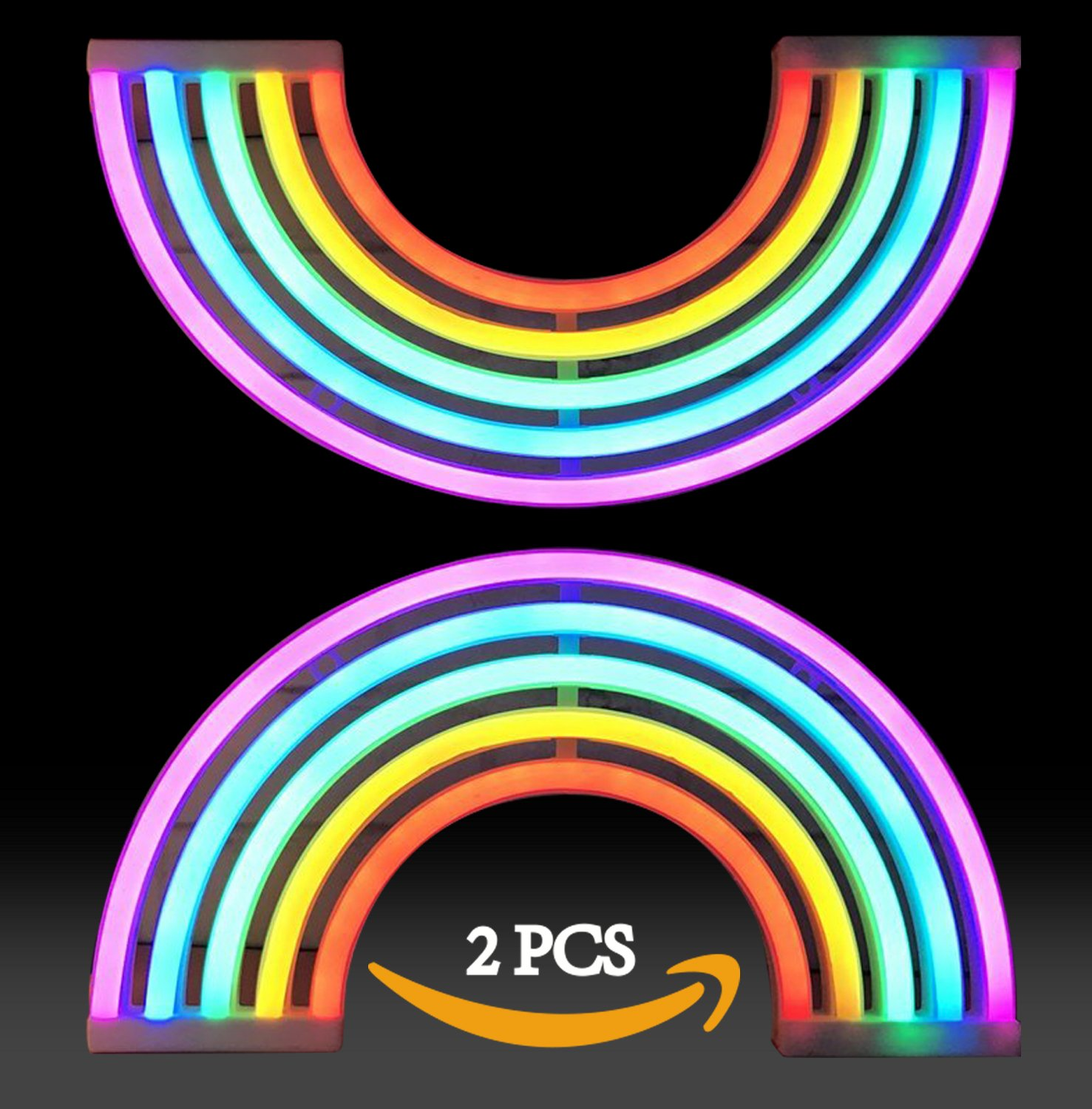 AIZESI 2PCS Rainbow Neon Light Sign,Neon Table Lamps,Marquee Battery Or USB Operated Table Led Ligths Wall Decoration for Girls Bedroom,Living Room,ChristmasParty as Kids Gift (Rainbow) by AIZESI (Image #2)