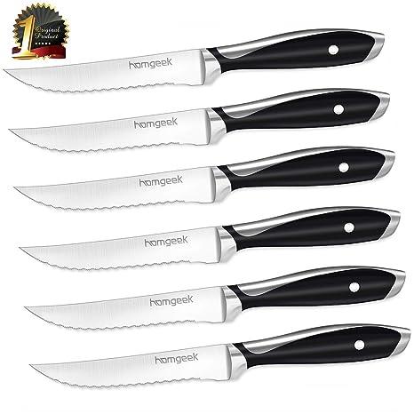 Homgeek Steak Knife, juego de cuchillos de cocina de 6 piezas, cuchillos de mesa de alta calidad, cuchillos de bistec con acero inoxidable de ambos ...