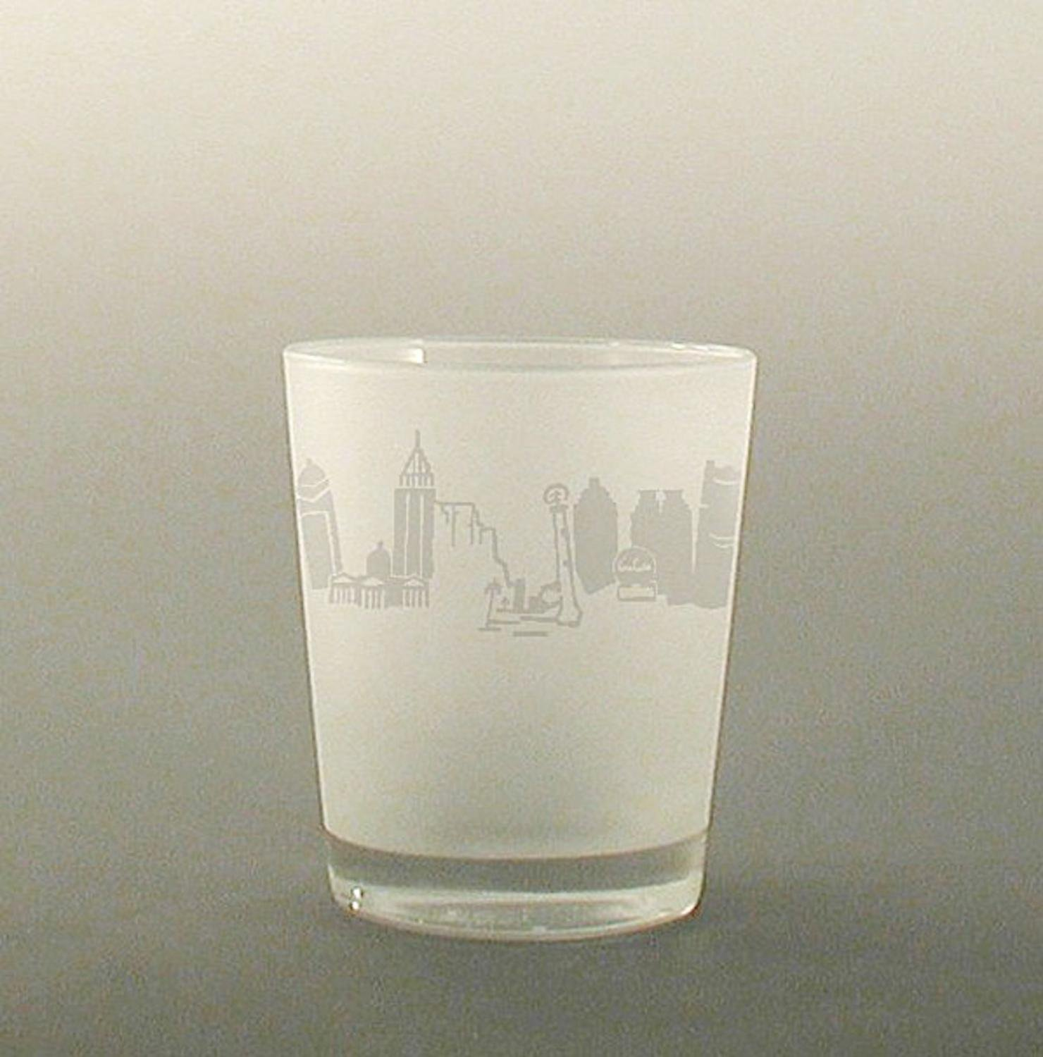 Set of 4 Atlanta Etched Double Old Fashioned Drinking Glasses 13 ounces