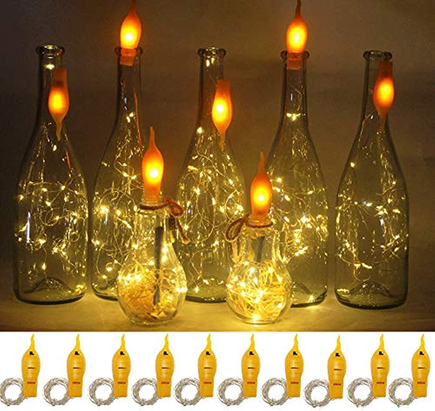 YJFWAL Wine Bottle Lights with Cork 12 Packs Warm White Battery Operated  12.12ft 12 LED String Lights with Candle Flame Starry Fairy Lights for Party  ...