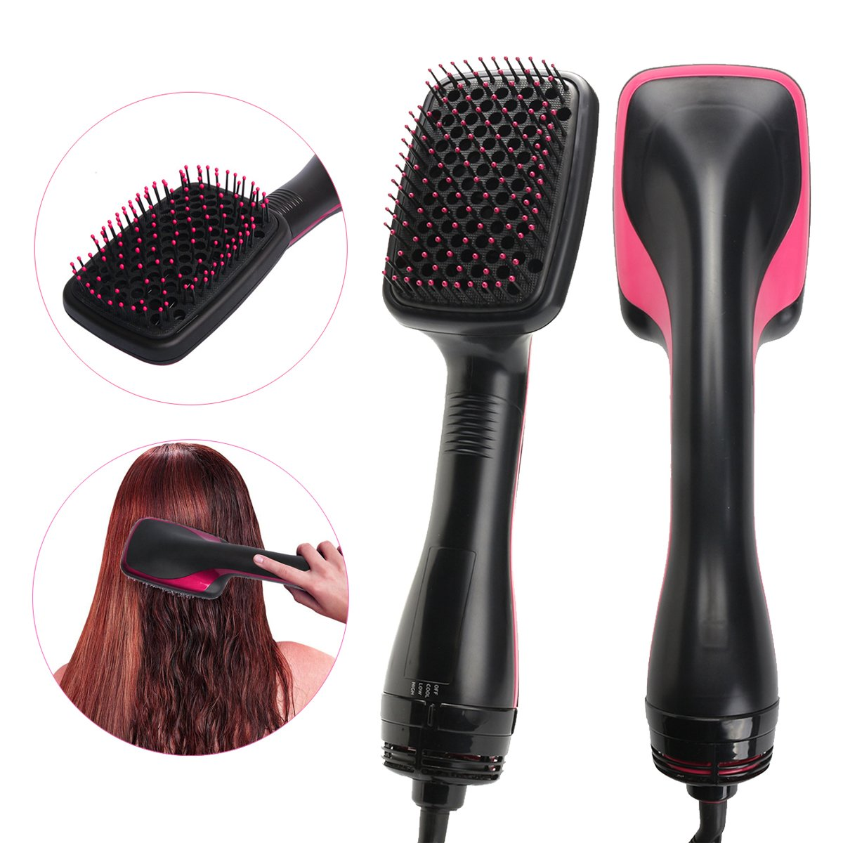 2-in-1 styling tool Y.F.M Salon Hair Brush Comb Styler 1000W Heated Hair Straightening Brush Smoothing Hair Beauty Dryer Styling