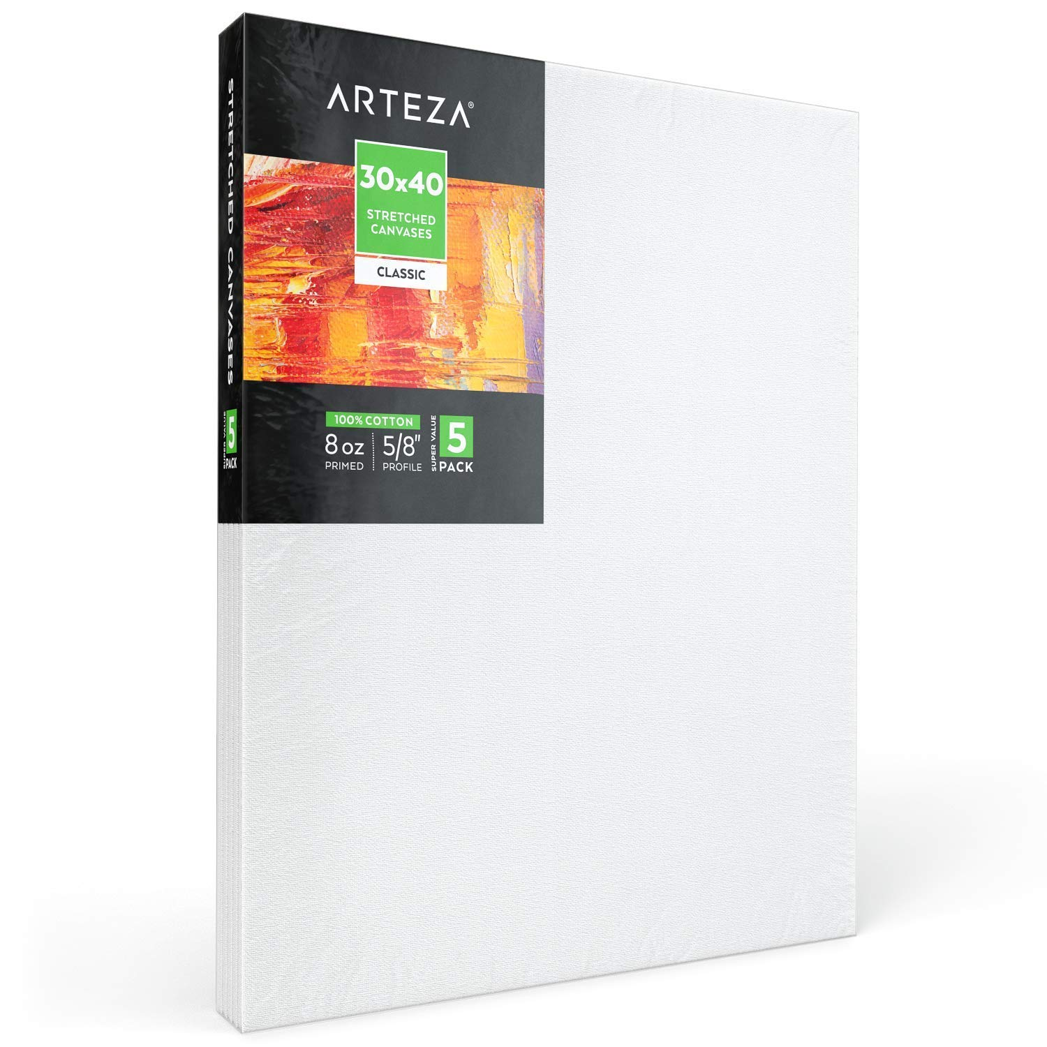 "Arteza 30x40"" Stretched White Blank Canvas, Bulk Pack of 5, Primed, 100% Cotton for Painting, Acrylic Pouring, Oil Paint & Wet Art Media, Canvases for Professional Artist, Hobby Painters & Beginner by ARTEZA (Image #6)"