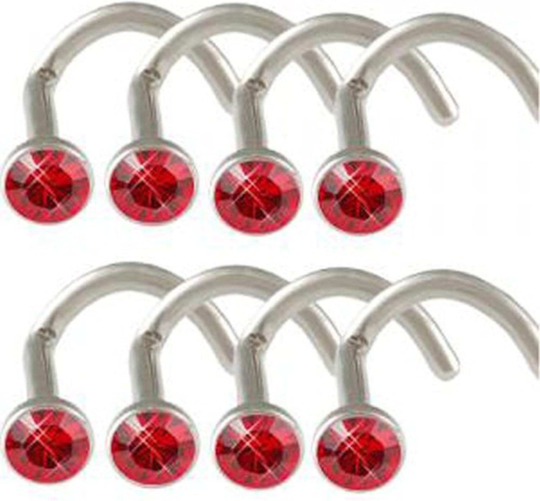 bodyjewellery 18g 18 Gauge 1mm Light Siam Crystals Surgical Steel Nose Ring Stud Screw Bone bar lot AFFM Piercing 8Pcs