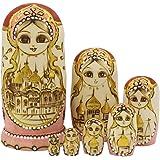 伝統的ロシアの女の子 モスクワのクレムリン マトリョーシカ人形 マトリョーシカ 手業 手塗り 木製品 7個組 誕生日プレゼント 贈り物 子供のおもちゃ 飾り物 置物 期間限定