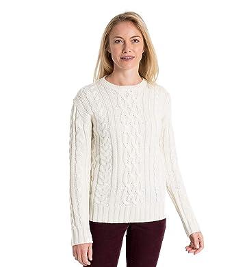 c28f863010f4 Wool Overs Pullover aus Reiner Wolle mit Aran-Zopfmuster für Damen Cream,  XL  Amazon.de  Bekleidung