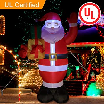 ourwarm 5 foot lighted christmas inflatable santa claus with gift boxes and big beard christmas blow