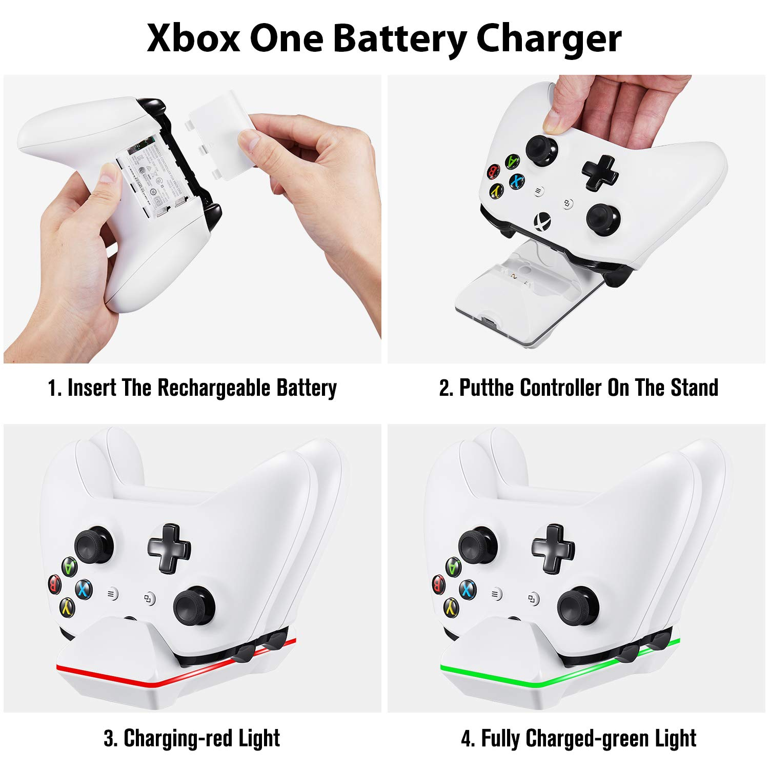 Xbox One Controller Charger, CVIDA Dual Xbox One/One S/One Elite Charging Station with 2 x 800mAh Rechargeable Battery Packs for Two Wireless Controllers Charge Kit- White by CVIDA (Image #5)