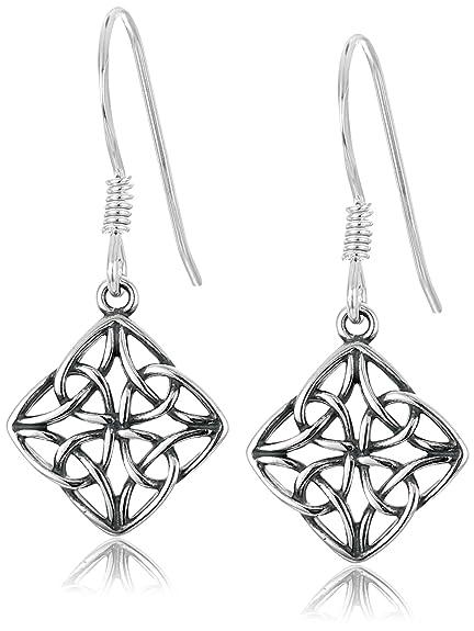 Amazon.com: Sterling Silver Oxidized Celtic Knot Diamond Shaped Drop ...
