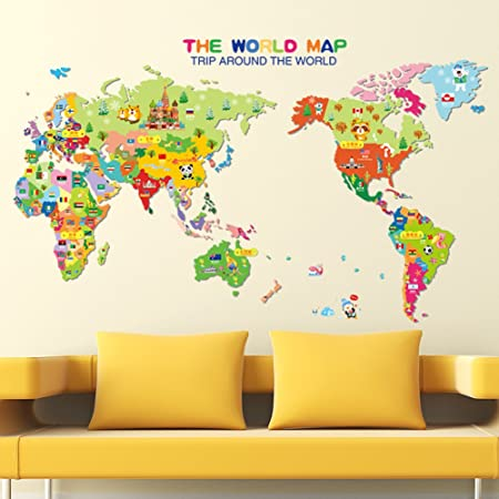 World Map English Letters Wall Decal Home Sticker PVC Murals Vinyl ...