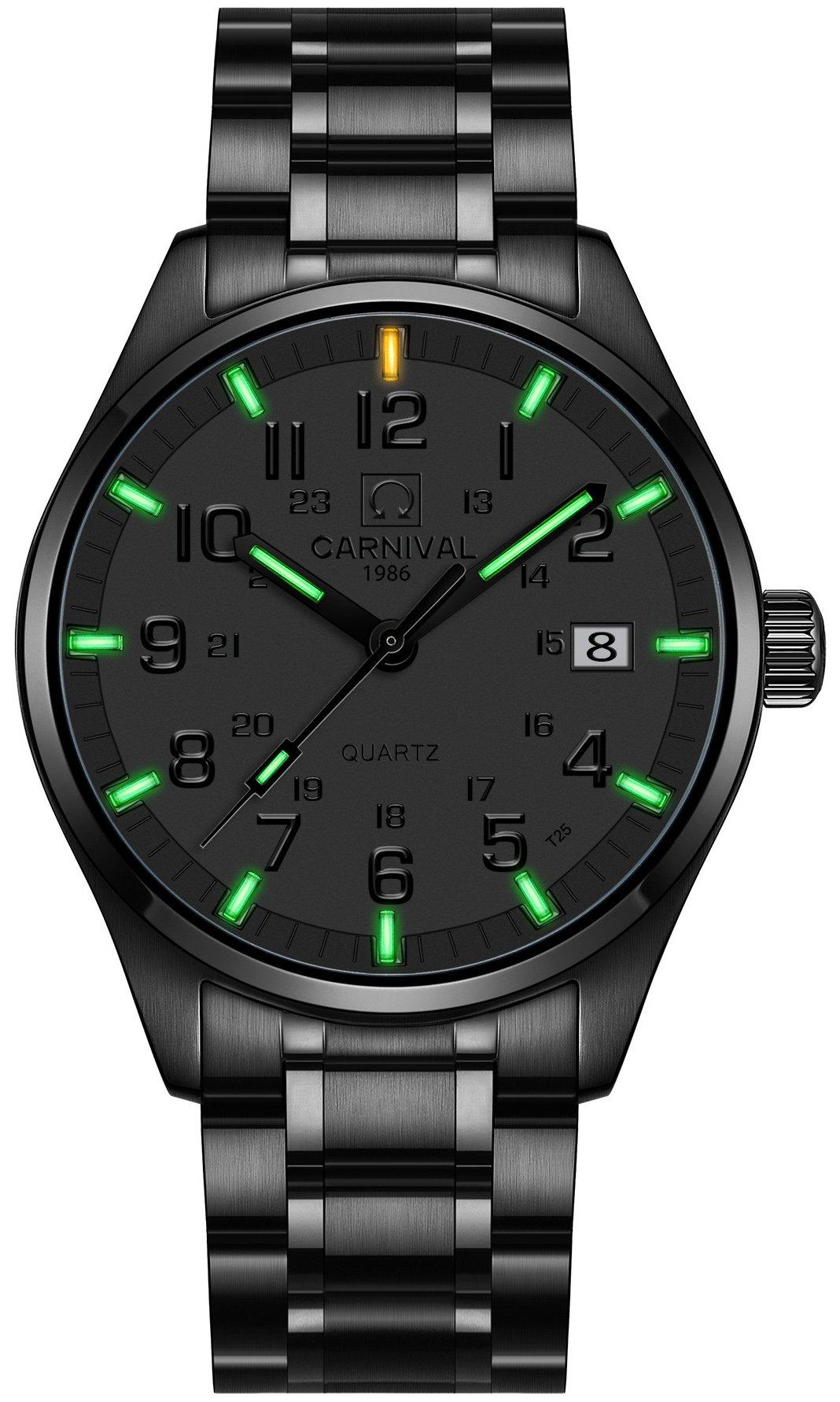 PASOY Mens Luminous Tritium Watch Waterproof Sapphire Glass Black Stainless Steel Military Watches 40MM