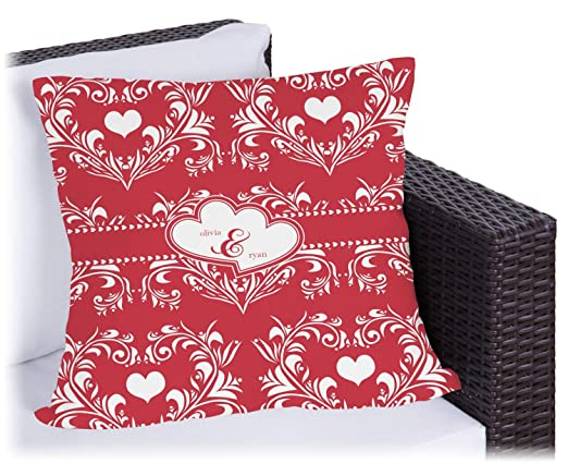 Corazón de Damasco al aire libre almohada (personalizado ...