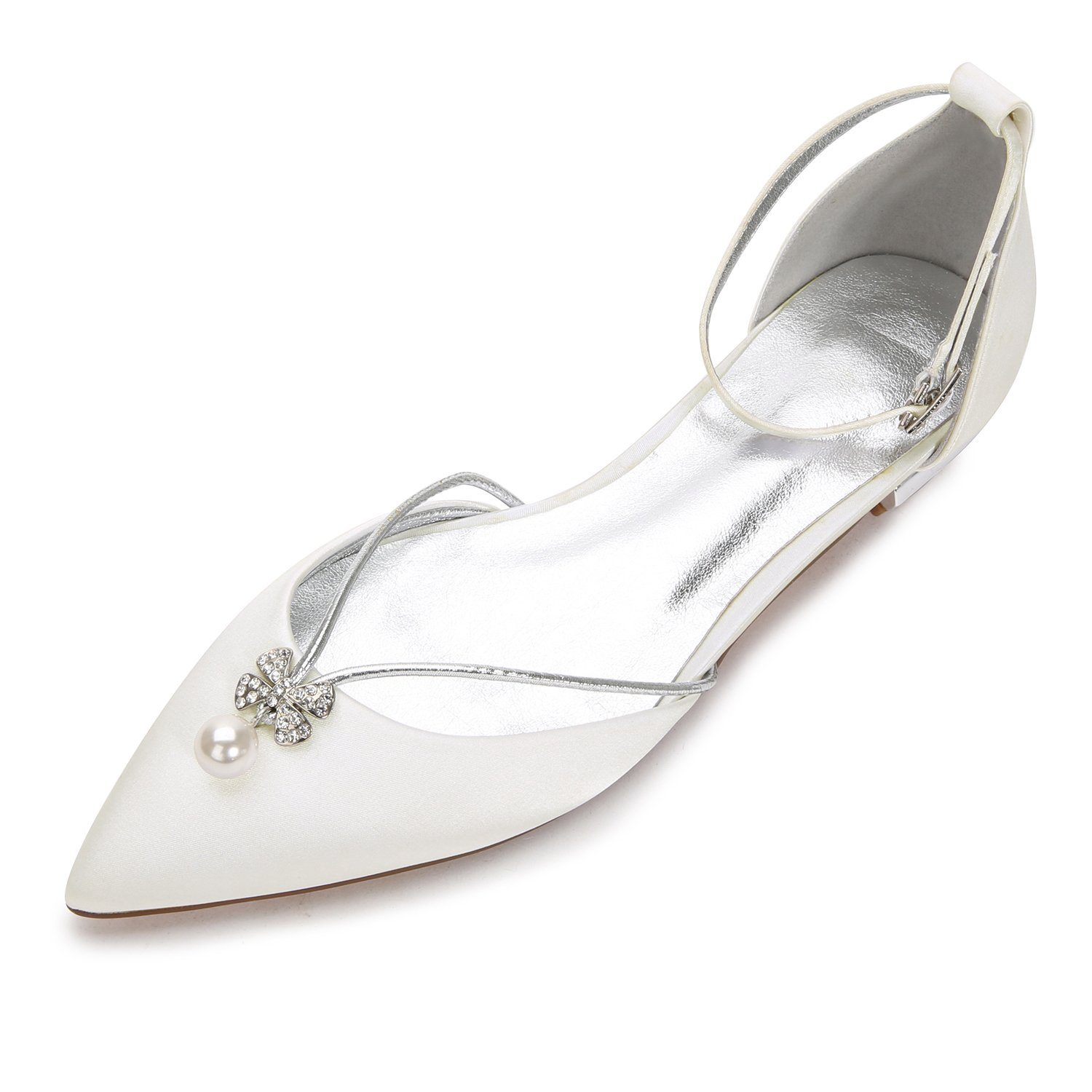 Pointed Toe DOrsay Ankle Strap with Pearl Crystal Bridal Wedding Flats Creativesugar Women Flat Dress Shoes
