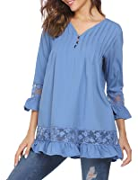 Women's Long Sleeve Patchwork V-neck 3/4 sleeve T-shirt Loose Casual Tops