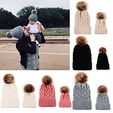 PLOT❤Family Matching Hat Mom&Me Baby Wool Hemming Hat Warm Winter Fur Ball  Cap  Amazon.co.uk  Clothing fc17c045eaba