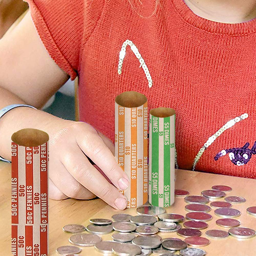 Coin Rolls Wrappers, 600 Assorted Flat Coin Wrappers - 150 of Each Quarters, Dimes, Nickels, Pennies, ABA Striped Kraft Paper Coin Roll Wrappers by Alritz (Image #6)