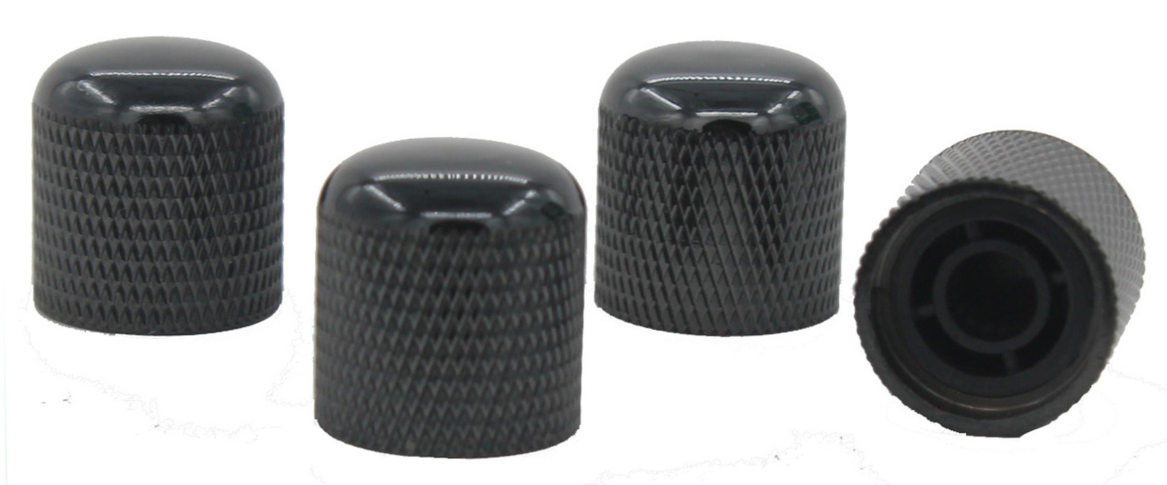 Heavy black Dome Control Knobs for Electric Guitar or Bass 4pcs