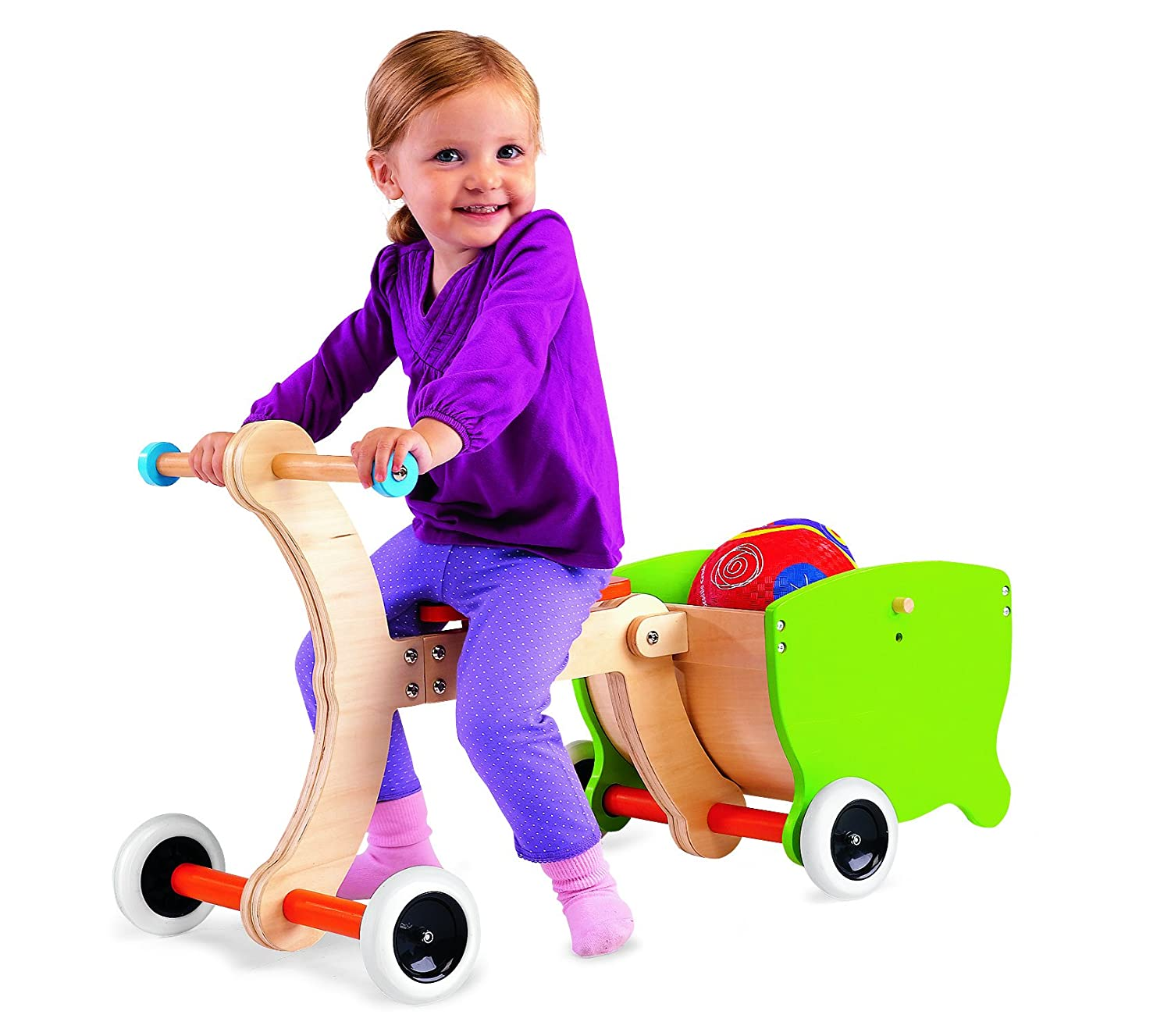 Amazon 1 2 3 Grow With Me Wooden Walker Ride on Toy Trolley