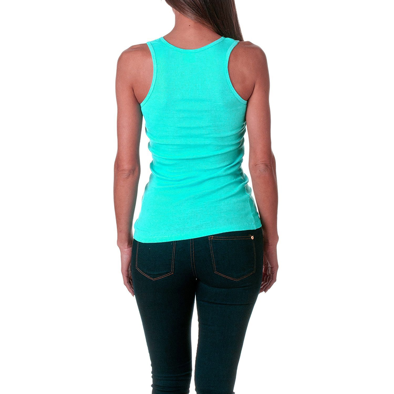 Sofra Women's Tank Top Cotton Ribbed-XL-Mint