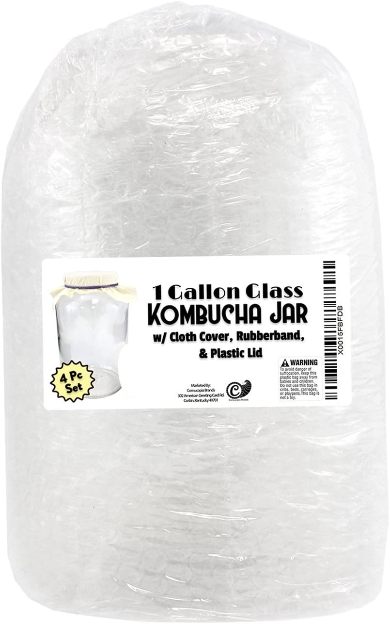 1 Gallon Glass Kombucha Jar Kombucha Jar with Cotton Cloth Cover and Plastic Lid for Storage after Brewing by Cornucopia Brands