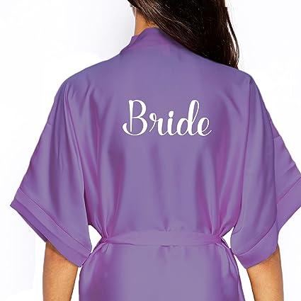 Kimono de satén personaliseitonline/bata., (dama de honor) gris/plata