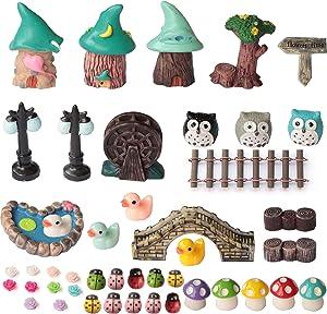 Fairy Garden Accessories , SPWOLFRT 44 Pcs Fairy Garden Kit Miniature Garden Ornaments Decorations Kit for DIY Fairy Garden, Miniature House, Dollhouse Decoration (Style A)