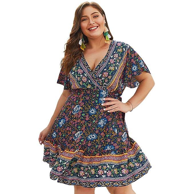 HOOYON Women\'s Bohemian Plus Size Floral Printed Wrap V Neck Short Sleeve  Beach Mini Dress