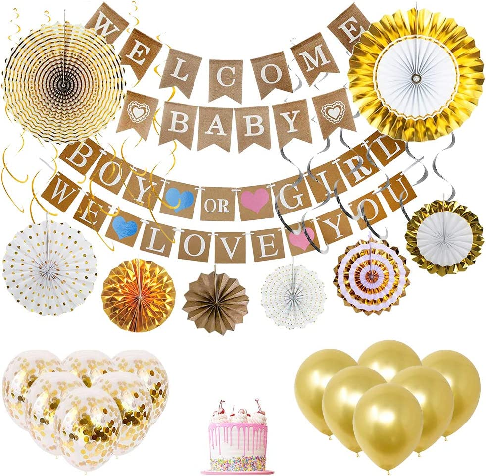 Sireema 37 Pcs Baby Shower Decorations, Gender Neutral Baby Shower Decorations, Ivory White and Gold Party Decorations