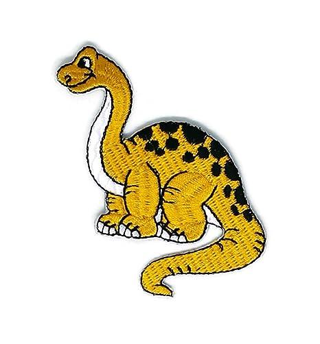 Parche de dinosaurio amarillo con dibujos animados bordados para coser o planchar con dibujos de dibujos ...
