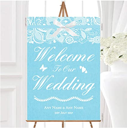 Vintage Aqua Sky - Cartel de boda personalizable con encaje ...