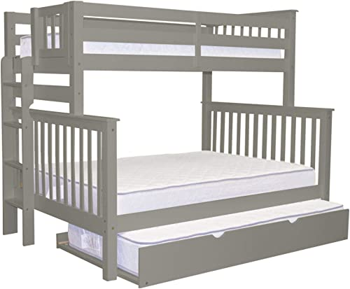 Bedz King Bunk Beds Twin over Full Mission Style with End Ladder and a Twin Trundle, Gray