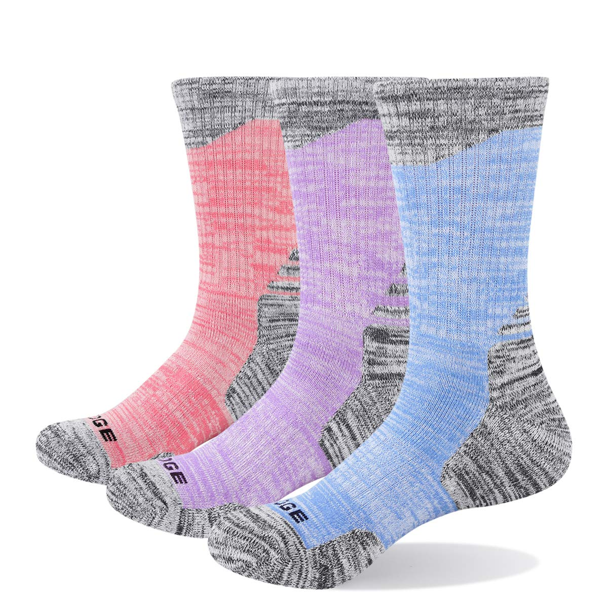 YUEDGE 3 Pairs Women's Cotton Cushion Crew Outdoor Sports Hiking Socks by YUEDGE