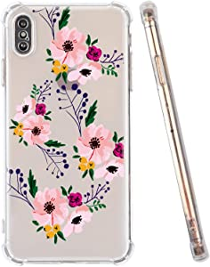 iPhone Xs Max Case, Clear iPhone Xs Max Case, Clear Flower Floral iPhone Case Girls Women Soft Flexible TPU Bumper Shockproof Transparent Protective Flowers Cover Case for iPhone Xs Max