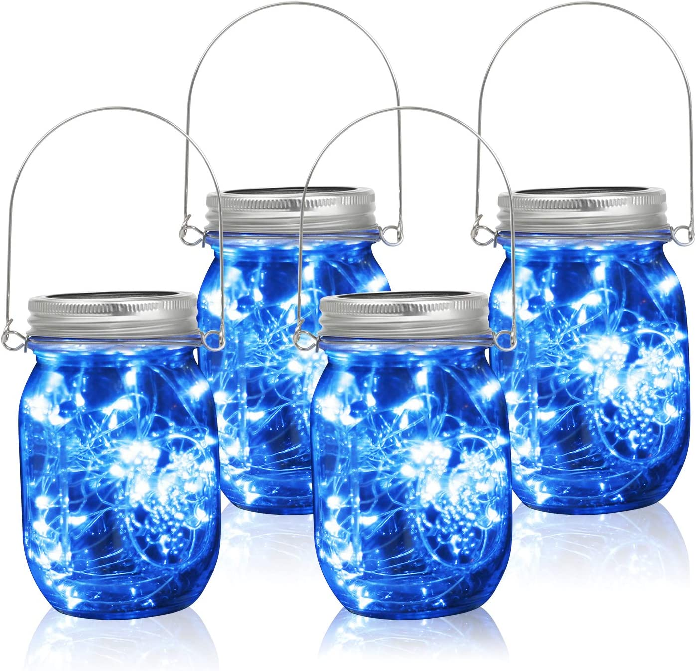CMP Solar-Powered Mason Jar Lights, 4-Pack 30 LED String Glass Jar Hanging Light Lantern Lamp for Home Outdoor Garden Patio Path Table Party Wedding Christmas Holiday Decor, Blue