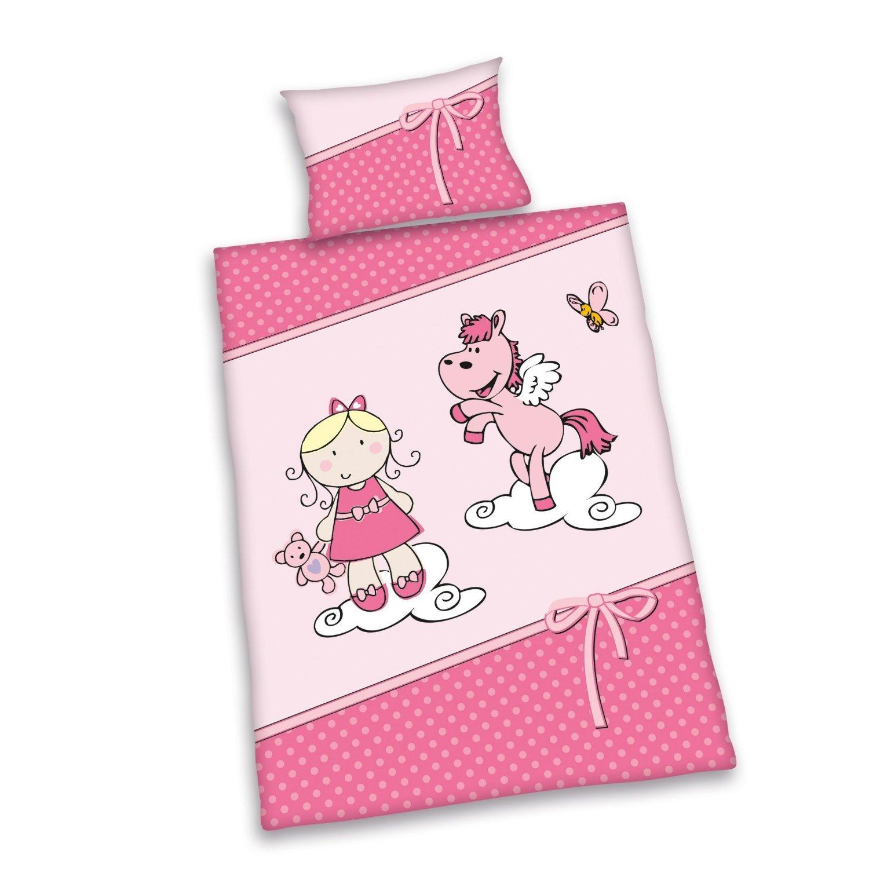 Herding Babybettwäsche Bettwäsche Lara Mädchen rosa 40 x 60 100 x 135 cm Renforce