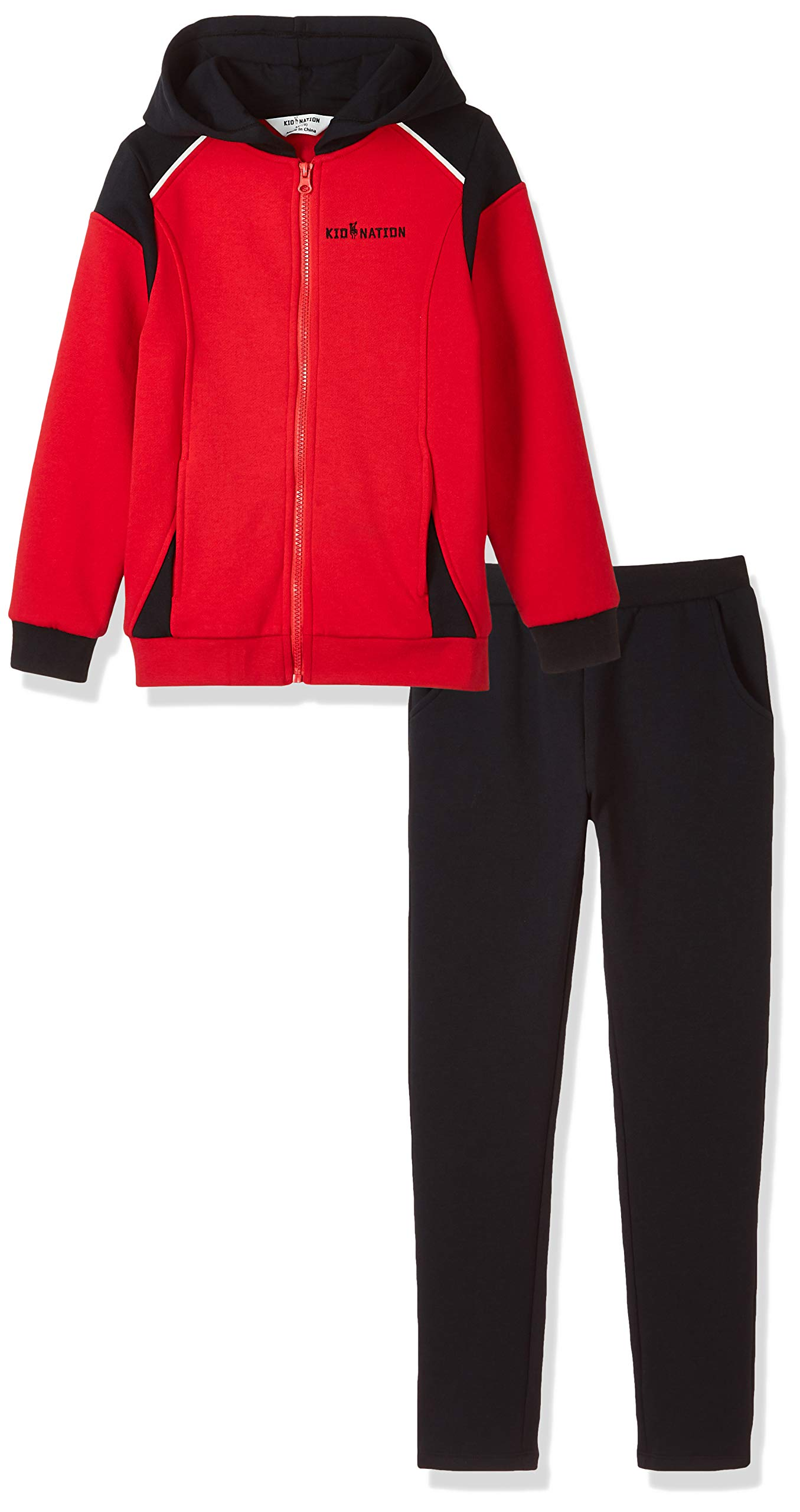 Kid Nation Kids' Sport Hooded Jacket Pants Set for Boys and Girls Red/Black/White XL by Kid Nation
