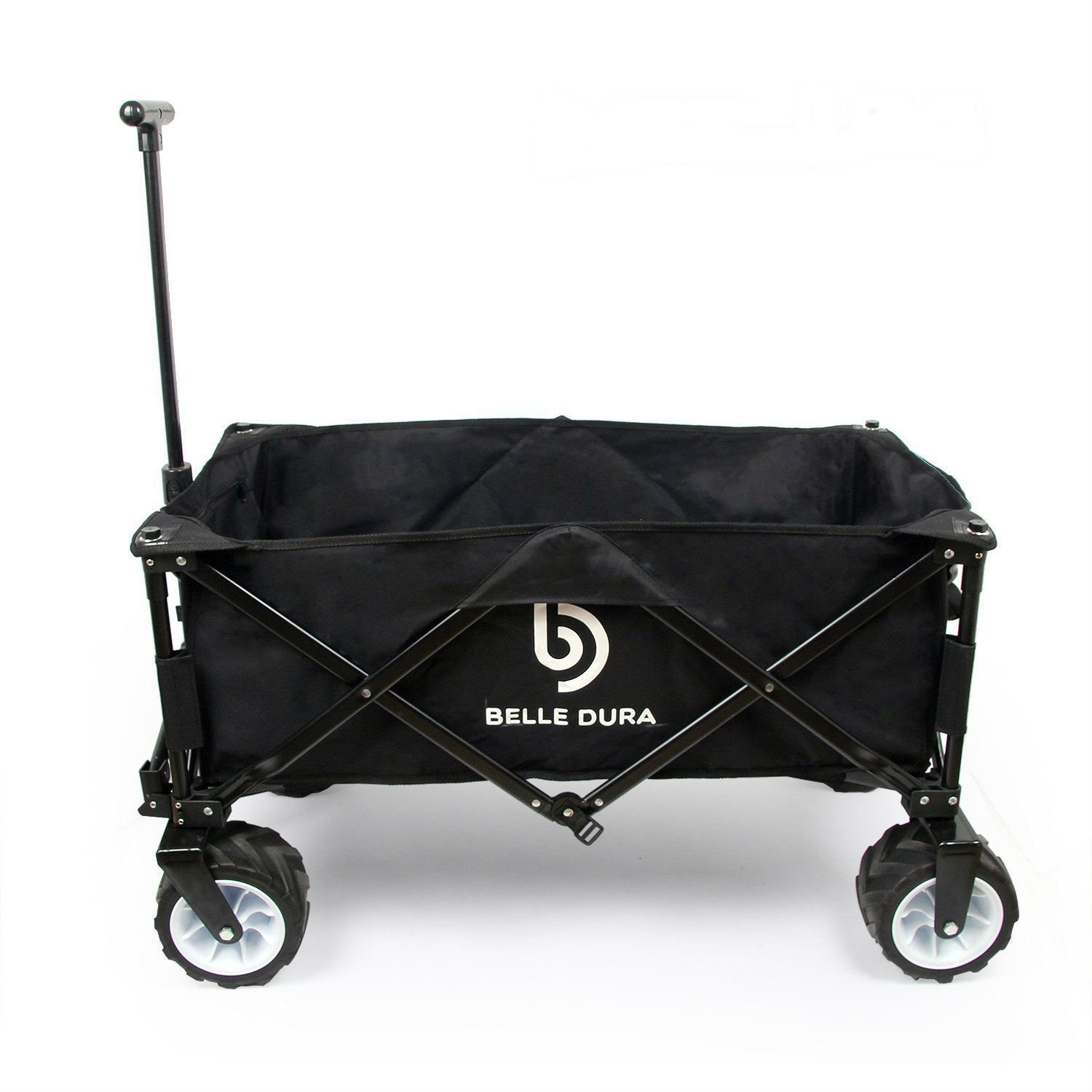 Belle Dura Folding Wagons, Collapsible Camping Utility Beach Cart Black with Beach Wheels and Sturdy Steel Frame for Outdoor Shopping Garden Wagon Cart by Belle Dura