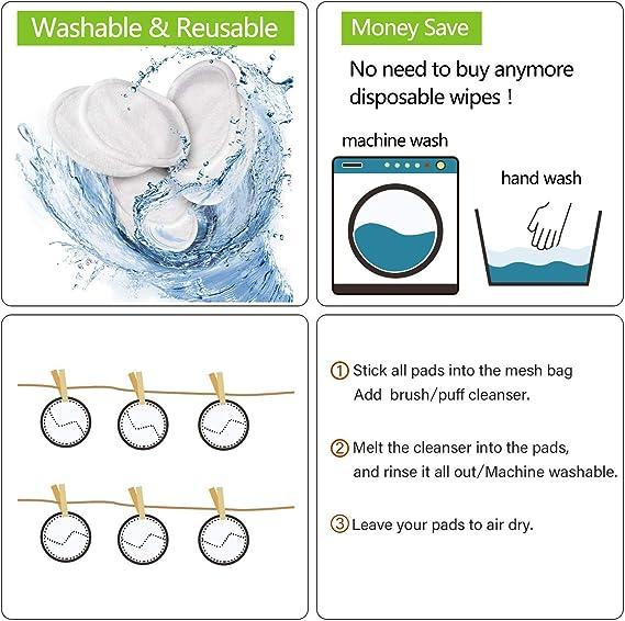 8 Pieza Almohadillas Desmaquillantes Reutilizables Discos De Maquillaje Bambú Algodón, Algodón Orgánico Microfibra Maquillaje Ojos Lavable, Super ...