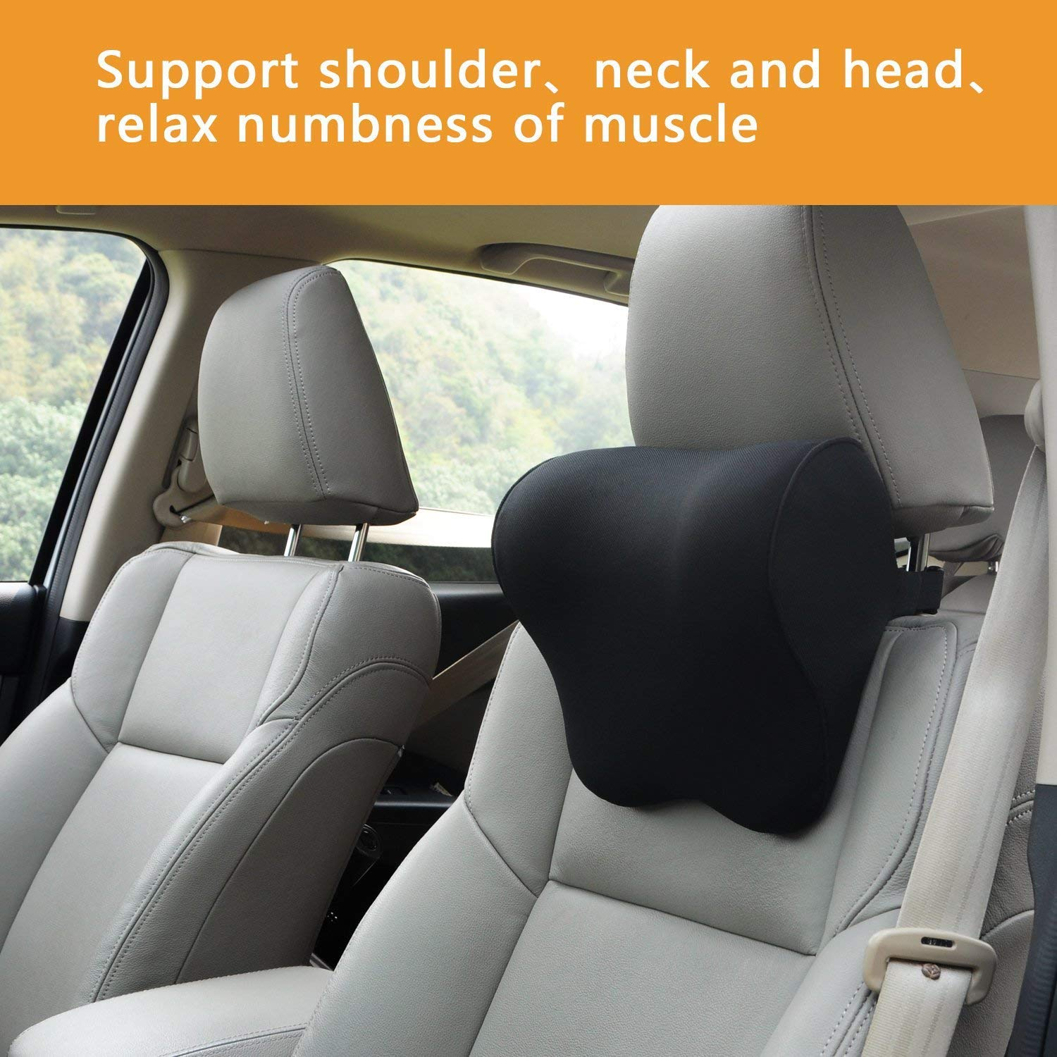 Dreamer Car Back Support in Car /& Headrest Pillow Kit Designed for Car Seat,High Density Memory Foam Ergonomically Designed for Full Back and Head Support and Back Pain Relief,Gray
