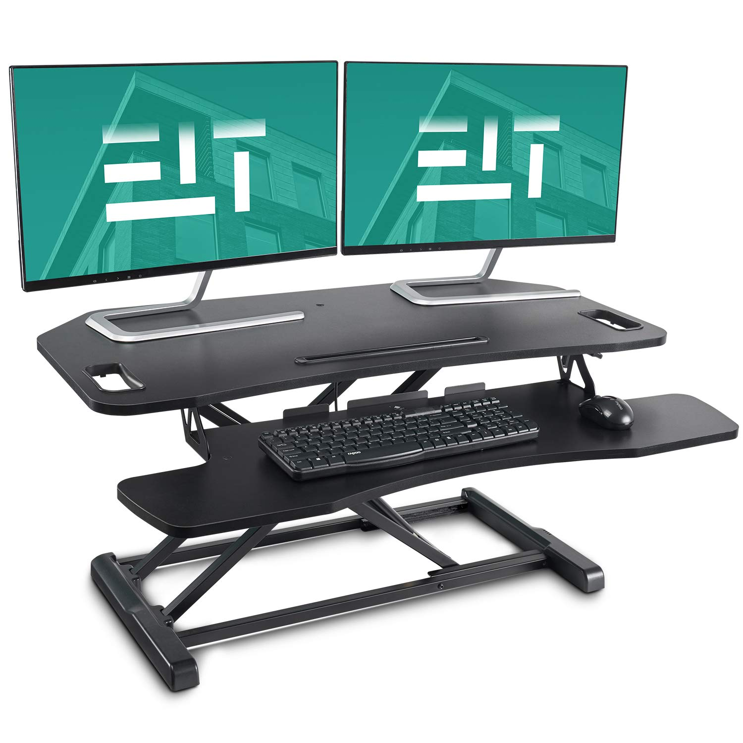 EleTab Height Adjustable Standing Desk Sit to Stand Gas Spring Riser Converter 37 inches Tabletop Workstation fits Dual Monitor by EleTab