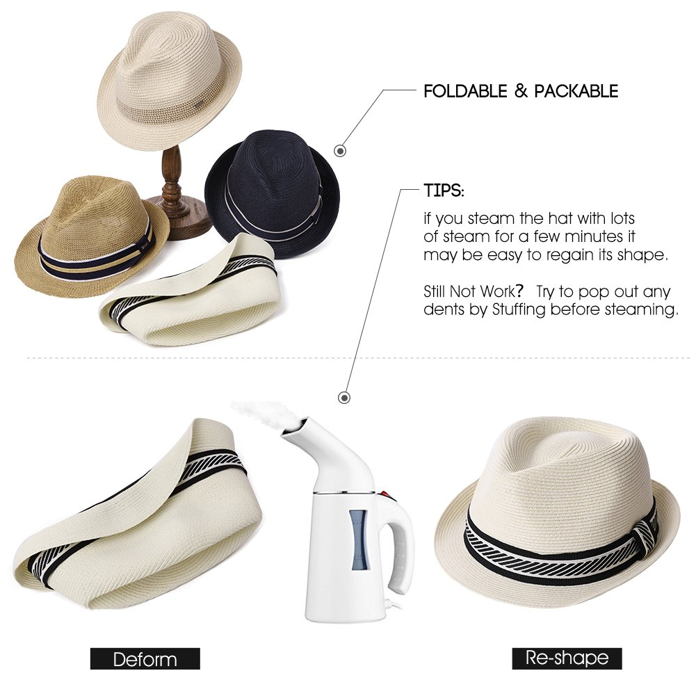 467f6e61355 Amazon.com  Mens Packable Straw Fedora Trilby Panama Sun Summer Beach Hat  Cuban Women 56-61cm  Clothing