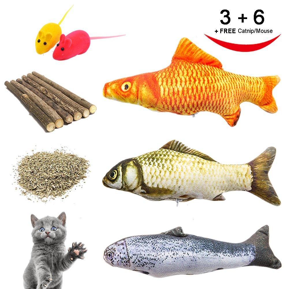 Catnip Toys, Cat Teeth Grinding Chew Toys Set - 3 Refillable Catnip Fish, 6 Catnip Matatabi Chew Sticks, 2 Squeaky Mouse, with Extra Catnip for Refill, Best for Cat, Puppy, Kitty, Kitten, Ferret by RIO Direct (Image #1)